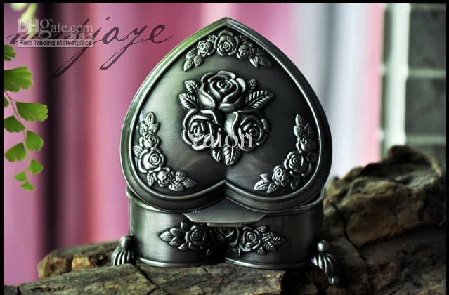 NUEVA aleación de estaño única de la soledad de Mónica rosa talla caja de joyería de la boda para la boda regalos nupciales joyería de la novia envío gratis