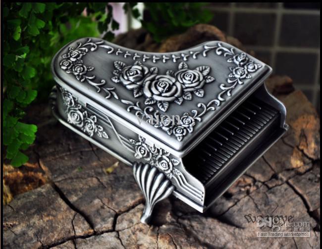 NUEVA CALIENTE única aleación de estaño estilo de piano talla caja de joyería de la boda para la boda regalos nupciales joyería de la novia envío gratis