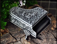 Wholesale Bride Wedding Tin Box - NEW HOT unique Tin alloy piano style carving wedding Jewelry Box For Wedding Bridal Gifts Bride Jewelry Box Free Shipping