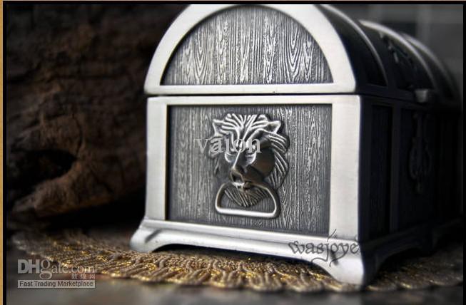 NUEVA CALIENTE única aleación de estaño piratas caja del cofre del tesoro caja de joyería de la boda para regalos nupciales de la boda caja de joyería de la novia envío gratis