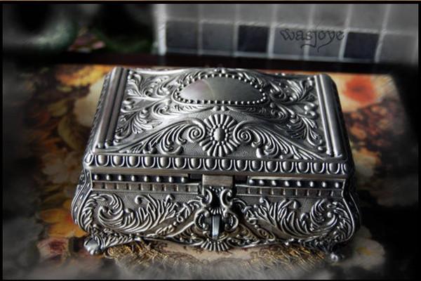 NUEVA CALIENTE único de aleación de estaño caja de la reina real talla caja de joyería de la boda para la boda regalos nupciales joyería de la novia envío gratis