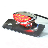 Wholesale Motorcycle License Plate Mounts - Chrome Motorcycle License Plate Mount Brake Tail Light For ATV DIRT Chopper
