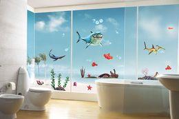 Wholesale Popular Living - Popular Cartoon Shark Sticker Happy House Removable Home Decor Wall Stickers Vinyl Sea Wall Paper 50*70cm 2pcs lot Free Shipping