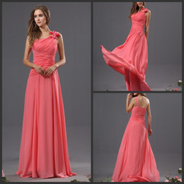 Wholesale Evening Dress One Shoulder Watermelon - High Quality A Line Sweep Train Watermelon Chiffon Pleated Sleeveless Beads Bow Coral Bridesmaid Dresses Long Prom Dresses Evening Gowns