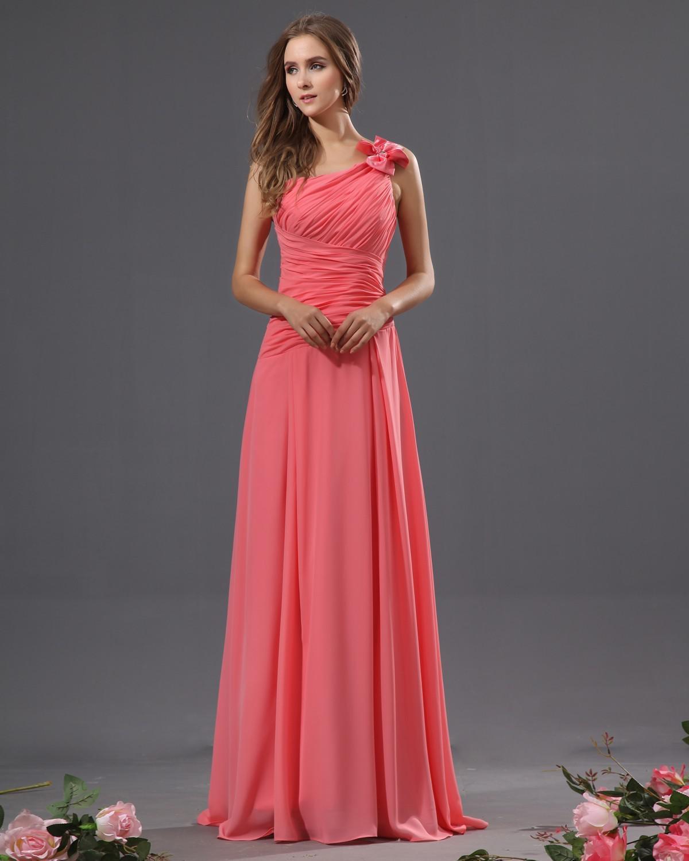 Hoge kwaliteit een lijn sweep trein watermeloen chiffon geplooid mouwloze kralen boog koraal bruidsmeisje jurken lange prom jurken avondjurken