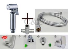 Wholesale Brass Bidet Spray - With Brass T-Adapter Hose And Holder Muslim Handheld Shattaf Bidet Toilet Spray Shower A2007ST