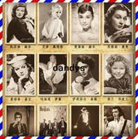 Wholesale Vintage style Movie stars poster Rock stars Drawing post card set postcards gift cards set
