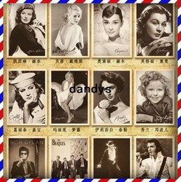 Wholesale Vintage Post - Free Shipping! Vintage style Movie stars poster Rock stars Drawing post card set  postcards  gift cards 5 set  lot