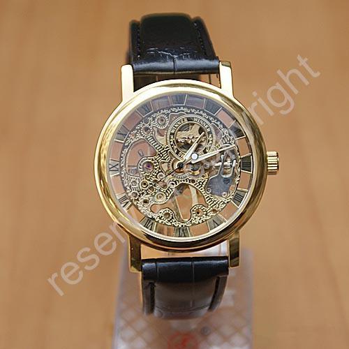 fashion winner skeleton hollow male business fashion hand wind men dress leather strap Mechanical Wrist Watch