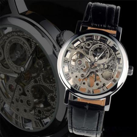 2021 Relogio Mâle Gagnant de luxe Marque Winding Cuir Squelette Montre-bracelet Mécanique pour hommes Reloj Hombre