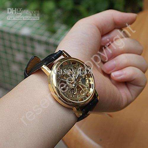 Hot Sale Silver Men's Manual Skeleton Mechanical Watch Wrist Hours Valentines Gift for men DHL
