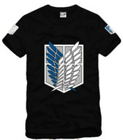 Wholesale Freedom Sleeve - Free shipping new arrive Japan anime Attack on Titan Scouting Legion Wings Of Freedom Badge printed t shirt 100% cotton 6 color