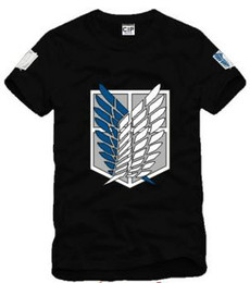 Attaque Le Titan Gratuitement Pas Cher-La livraison gratuite nouvelle arrive l'attaque de l'anime du Japon sur Titan Scouting Legion Wings Of Freedom Badge imprimé t-shirt 100% coton 6 couleurs