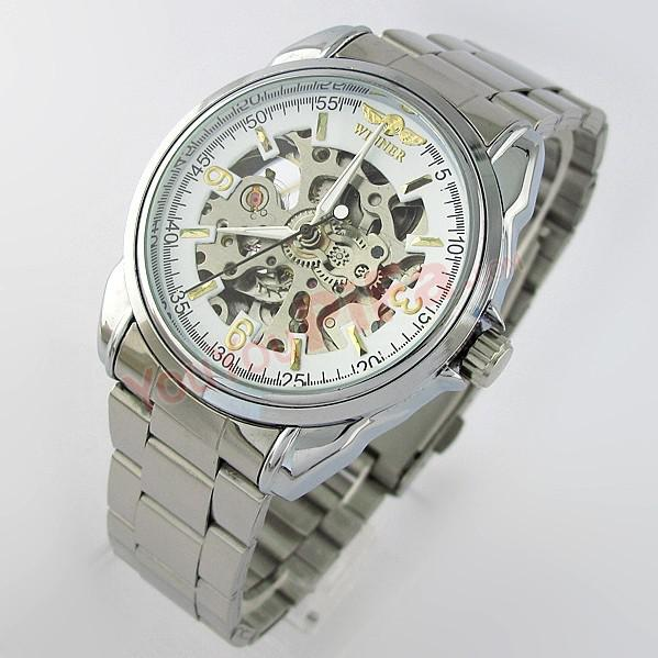 Ganador de la moda marca mujer reloj hueco moda clásica inoxidable autonático femenino auto-viento mecánico reloj de pulsera