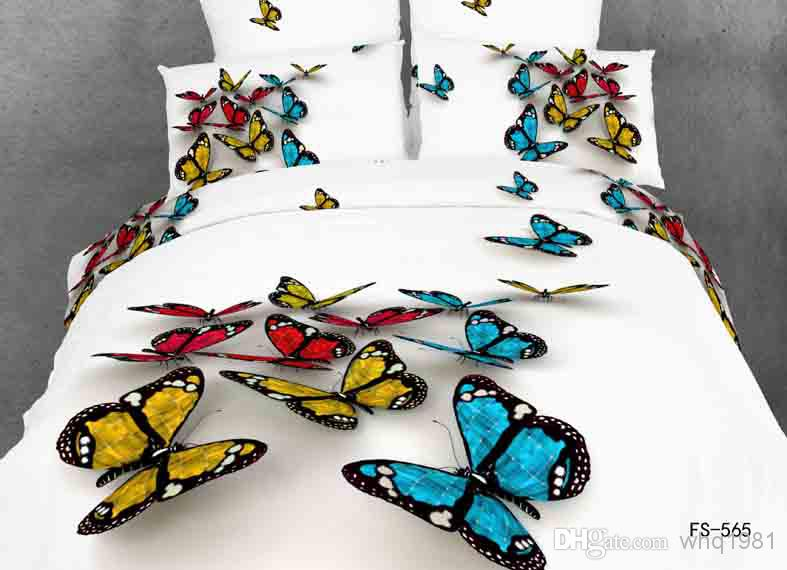3d Beautiful Colorful Butterfly Bedding Set Queen Size
