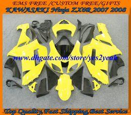 carenado amarillo zx 6r Rebajas Kit de cuerpo de carenado de motocicleta para KAWASAKI Ninja ZX6R 07 08 ZX 6R 2007 2008 Carrocería ZX-6R 636 amarillo negro Carenados conjunto KTR19