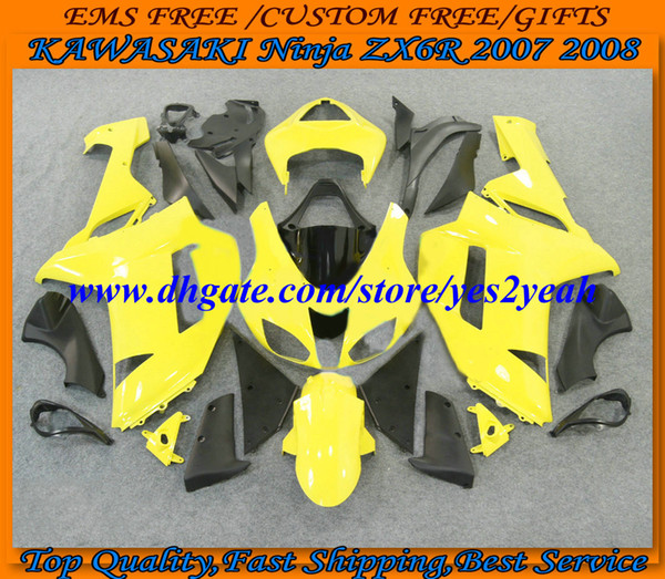 Motorcycle Fairing body kit for KAWASAKI Ninja ZX6R 07 08 ZX 6R 2007 2008 Bodywork ZX-6R 636 yellow black Fairings set KTR19