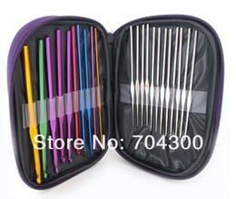 Wholesale weaving needles wholesale - HOT Stitches Knitting Craft Case Aluminum Crochet Hooks Needles Knit Weave