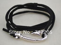 Wholesale Fashoin Jewelry - Free shipping 5pcs a lot fashoin rhodium plated Best quality black cord fishhook bracelet jewelry(B008)
