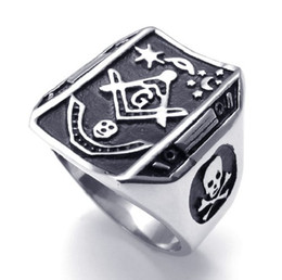 Discount masonic rings shipping - Free Shipping! Men's jewelry Stainless Steel Rings jewellery Masonic Rings Design Freemasonry ring