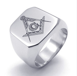masonic rings shipping 2019 - Free Shipping! Fashion Men Silver jewelry Stainless Steel Jewellery Masonic Rings Compass + colt+Letter G rings IB73917