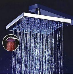 "Wholesale Rainfall 16 - 16"" Big Square 3 Color LED Chrome Finish Rainfall Shower Head With Arm FL65"