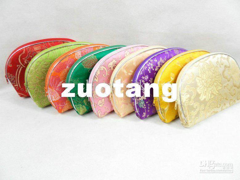 Cheap Women Makeup Case Set Bag Silk Zipper Cosmetic Purses 10Set/lot (1set=5pcs) mix color Free