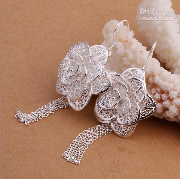 Mode Prom Sieraden 925 Silver Flower Drop Earrings 7.3x2.8cm Topkwaliteit Gratis verzending /