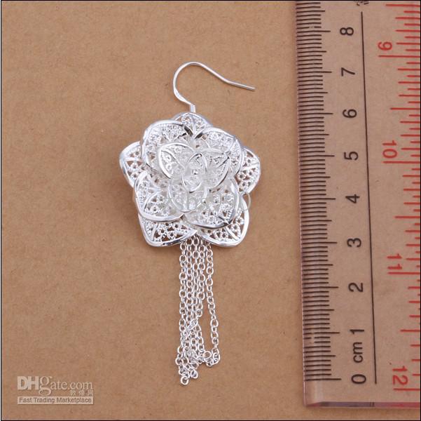 Orecchini di goccia del fiore dell'argento dei gioielli 925 di promenade di modo 7.3x2.8CM Trasporto libero superiore /