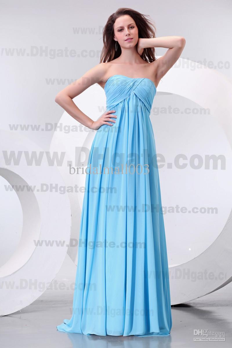 2015 New Cheapest Bridesmaid Dress Blue Strapless A Line Floor ...