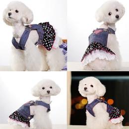 Wholesale Heart Jeans - Pet Dog Lace Heart Apparel Clothes Puppy Lovely Costume Jeans Dress Skirt Suit 100pcs