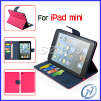 Wholesale Mercury Jelly Case - Mercury Leather Cover for iPad Mini Card Slots Pattern Soft TPU Jelly Protective Stand Case