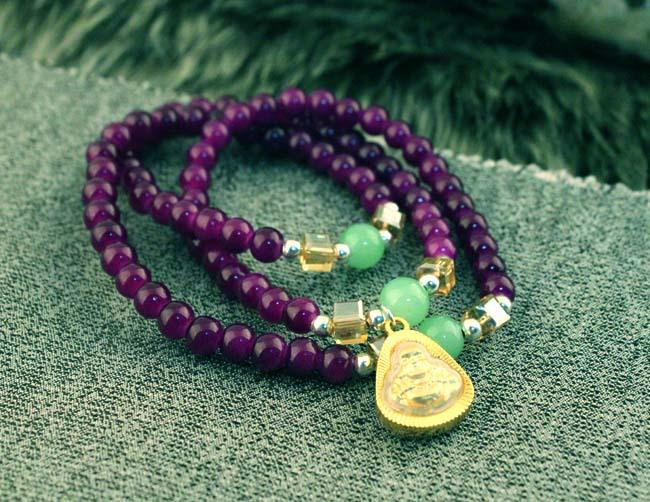 Bracelet en cristal naturel, Bracelet multicouche, perles maitrésya Maitreya, bracelet de mode féminine.