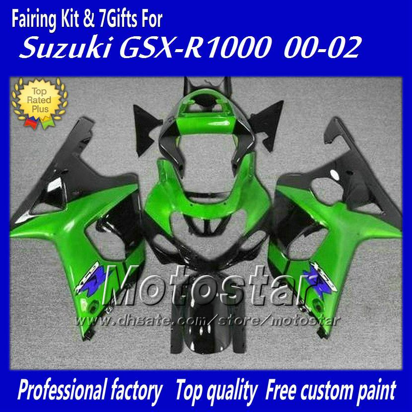 Kit de carenado personalizado con 7 regalos para SUZUKI GSXR 1000 K2 2000 2001 2002 GSXR1000 00 01 02 R1000 carenados verde negro conjunto cc2