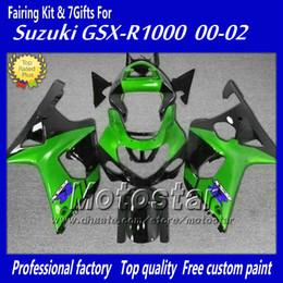 Wholesale K2 Fairing Custom - Custom fairing body kit with 7 gifts for SUZUKI GSXR 1000 K2 2000 2001 2002 GSXR1000 00 01 02 R1000 green black fairings set cc2