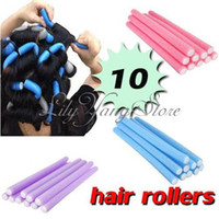 Wholesale Diy Hair Styling Tools - Free Shipping 10x Hairstyle Foam Curler Roller Stick Spiral Curls Tool DIY Bendy Hair Styling Sponge