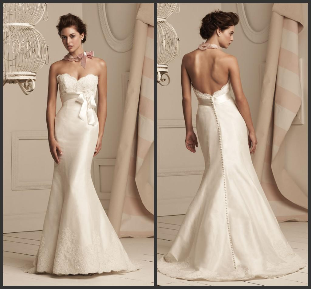 Paloma Blanca Simple Lace Applique Wedding Dresses Mermaid Bow Band Waist Corset Ruffles Taffeta Floor Length Buttons Low Back Bridal Dress Mermaids