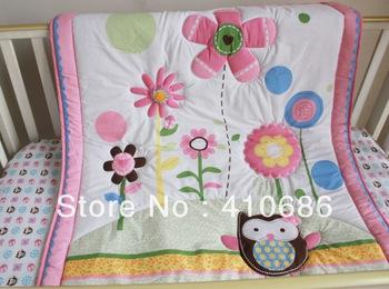 New Pink Flowers Birdie Owlet Girl Baby Cot Crib Bedding Sets 3 ... : baby cot quilt sets - Adamdwight.com