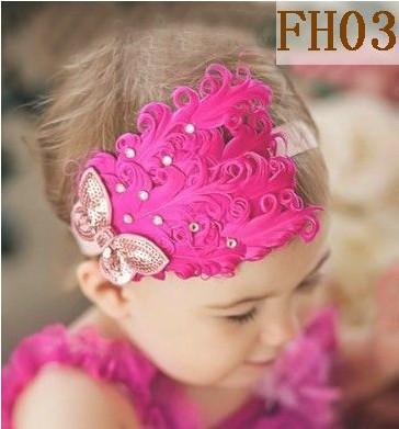Headwear del bebé de flor de la pluma + venda elástico de 2 pulgadas Cinta del pelo hecho a mano de los niños