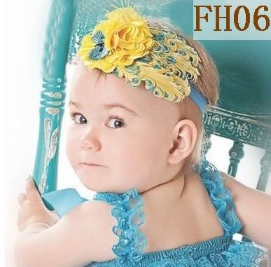 i Baby's Headwear Feather Flower + 2inch Elastic Headband Children Handmade Hair Ribbon