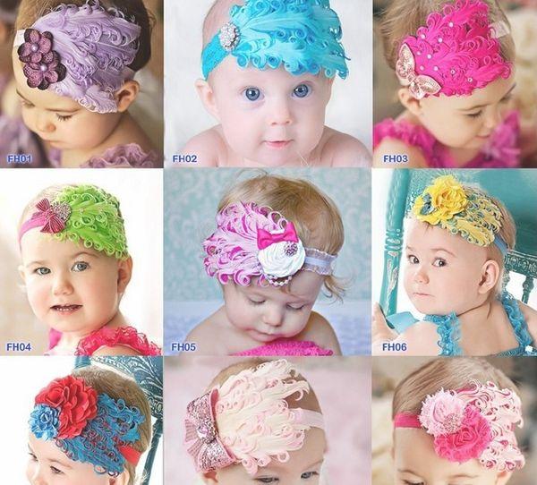 5pcs 10 couleur bébé chapeaux (plume fleur + 2inch bandeau élastique) enfants ruban à la main de cheveux