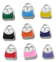 Wholesale Enamel Handbag Beads - 50 PCS MIXED COLOURS ENAMEL HANDBAG EUROPEAN BEADS WITH BIG HOLE FIT CHARM BRACELET M19529