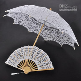 Wholesale Ladies Black Parasol - 100% Cotton Lace Embroidery Ladies Parasol Bridal Umbrella and Hand Fan for Wedding Decoration Shooting Props