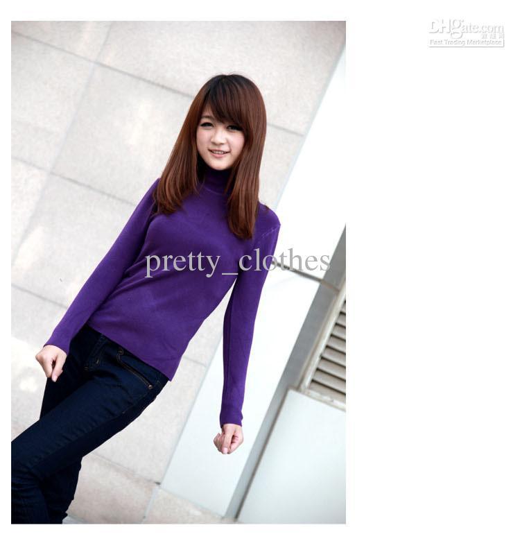 2018 Purple Sweaters For Women Fashionable Turtleneck Ladies ...