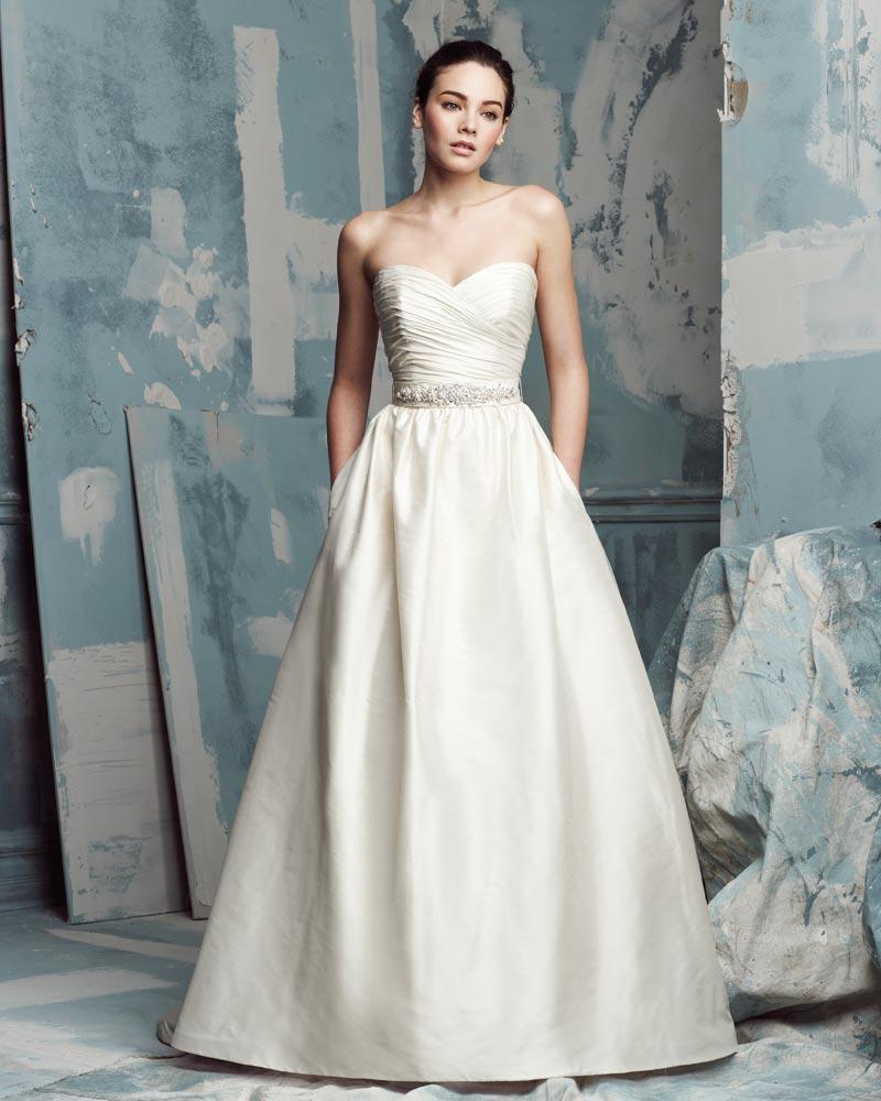 Discount Modern Taffeta A Line Waist Bow Back Ruffles Wedding ...