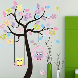 "$enCountryForm.capitalKeyWord Canada - Freeshipping! Extra large 63"" x 67"" Flower Tree & Owls Swing Removable Wall stickers Decor Decal Mural Children Nursery Wall Decor Kids Room"