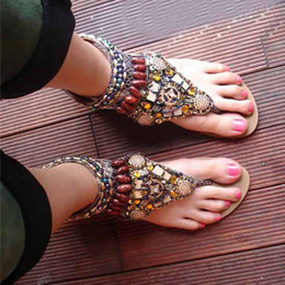 Wholesale Ladies Beaded Shoes Black - high quality 2015 fashion shoes New hot sale Women hand Color film beaded shoes Lady Cheap bohemian flat sandals Open-toed shoes V8231