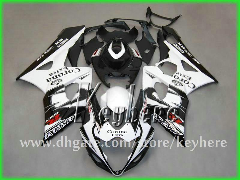 Kit de carénage ABS gratuit 7 cadeaux pour SUZUKI GSXR 1000 2005 2006 carénage GSX R 1000 05 06 K5 G3k pièces de moto CORONA WHITE BLACK