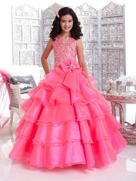 longue tenue de cortège en organza de petite fille de paillettes de robe de bal scintillant bow licou bow back en organza niveaux ZFD-037 pas cher