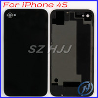 Wholesale Iphone Battery 4gs - Back Glass Battery Door Housing Back Cover Replacement Repair Parts A1387 For iPhone 4S 4GS 4G Black and White Free Shipping